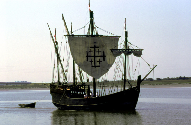 "The ""Nina"" Reproduction Sailing Ship in Jekyll Creek at Jekyll Island, Georgia on the ICW"