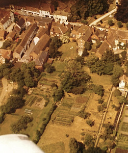 An overhead view of The Red House, The Porch House and The George Hotel. Taken from John Bisco's airplane by Bob Bisco