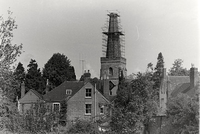 Rebuilding Newent Church Tower in the early 1970's as seen from the Post Office rear garden