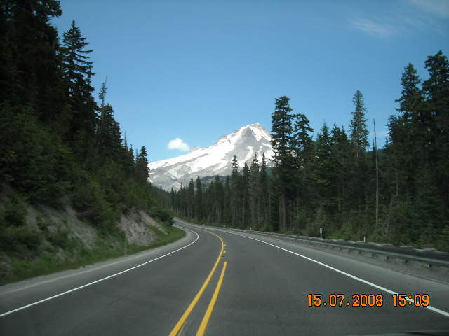 Mount hood through the windshield of my car on the way back from skiing in JULY!