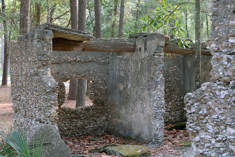 10 Slave Quarters and Distillery and Two Secondary Buildings or Sugar Mill ruins in the Thicket in McIntosh County, Georgia Carnochan Area