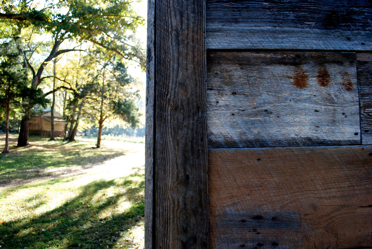 The back of the corn crib at The William Harris Homestead