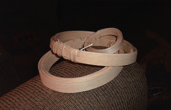 Pounded strips are rolled up for storage and stored in a plastic bag when not in use.