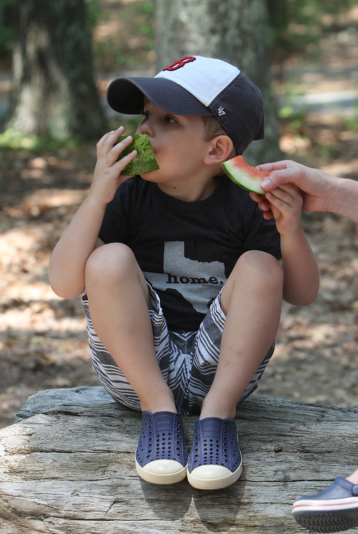 ". DCR celebrate Henry Thoreau\'s 200th birthday with ""Henry\'s Watermelon Party\"" at Walden Pond State Reservation. Dawson Fischer, 4, of Concord, eats watermelon slices, which were served because Thoreau was known for growing the sweetest watermelons at his family\'s home in town, and would share with others. The watermelons were donated by Donelan\'s Market in Lincoln and Crosby\'s Market in Concord. (SUN/Julia Malakie)"
