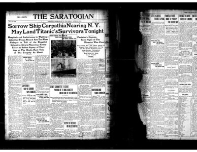 Front page of The Saratogian, April 18, 1912