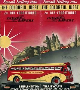 Burlington Trailways Bus Brochure 1940's