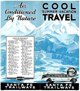 Santa Fe Trailways Bus Brochure, 1930,s