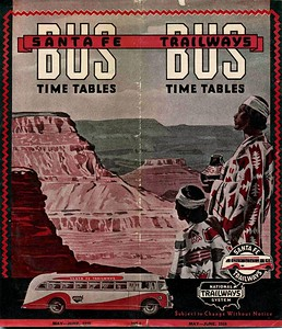 Santa Fe Trailways Bus Time Tables.May June 1938.