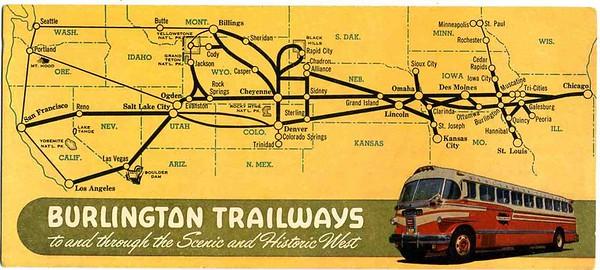 Burlington trailways ink blotter map. 1940's.