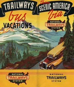 National Trailways Bus Brochure, 1930's