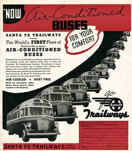 Santa Fe Trailways Bus Time Table. May June 1938.