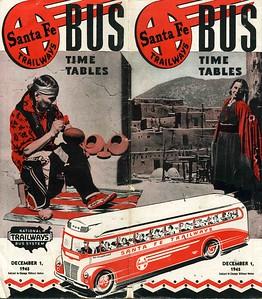 Santa Fe Trailways Bus Schedule. December 1, 1945.