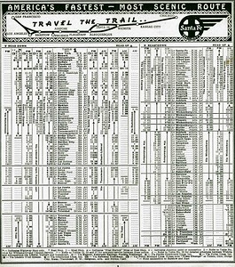 1938 Santa Fe Trailways Time Tables, inside page.