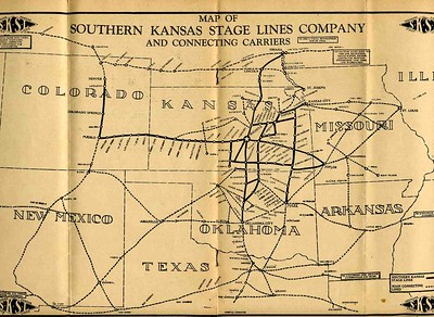 Southern Kansas Stage Lines Route Map. 1929.