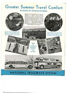 Santa Fe Trailways Bus Brochure, reverse side.