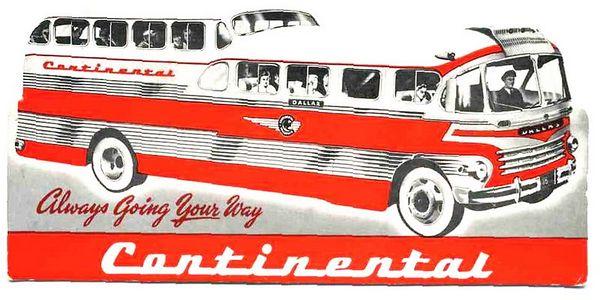 Continental Trailways ink Blotter, 1950's?