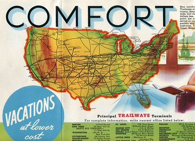 National Trailways Bus Brochure Add.1930's