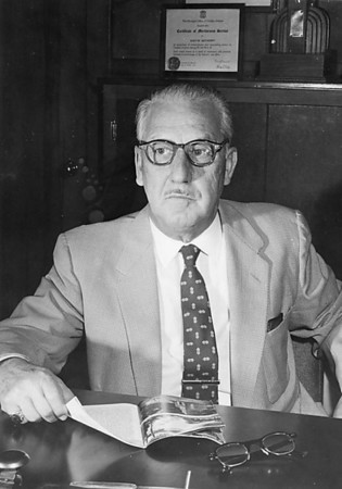 Austin Batdorff in his office, probably sometime in the 1950s.