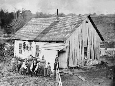 The Silver Lake Road slab home of the Wencil Kratochvil family in the 1850s. The Kratochvils purchased 80 acres of land in 1861 for $115 and raised mainly cattle, hogs, corn and wheat.
