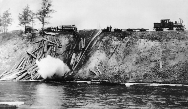 Photo courtesy of Traverse Area Historical Society<br />  Logs crash down a rollaway along the Boardman River after a Shay engine hauls them out of the woods on a narrow-gauge railway.   The engine, narrow-gauge rails and big wheels, all invented by the latter half of the 1870s, turned lumbering from a winter-only occupation to a year-round industry.