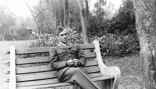 Photo courtesy of Tom Ghering<br /> Eugene Ghering sits on a bench outside a Florida military hospital near the end of World War II.
