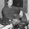 Photo courtesy of Ross Biederman<br /> Lester Biederman in early 1942, a year after he founded WTCM, Traverse City''s first commercial radio station.