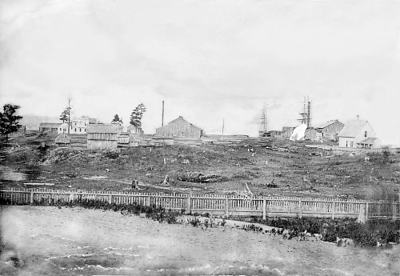 Photo courtesy of Traverse Area Historical Society<br /> The view of the bay from Front Street in the early 1860s included the Hannah, Lay & Co.'s old store, mills and docks. This is probably close to what Grand Traverse Herald founder Morgan Bates and wife Clymene saw when they arrived in the fall of 1858.