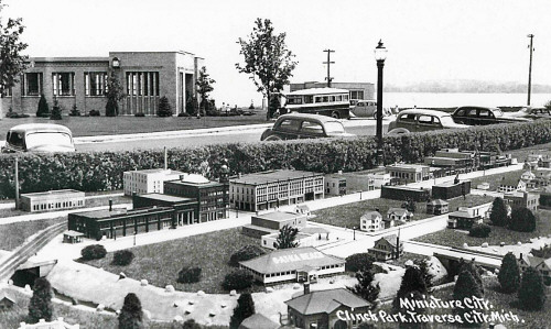 Courtesy of the Traverse Area Historical Society<br /> The Miniature City at Clinch Park, looking west, probably in the late 1930s or early 1940s. The Con Foster Museum is the large building in the upper left corner.