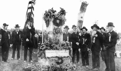 "Photo courtesy Traverse Area Historical Society<br /> Grand Traverse area Civil War veterans gather for a Memorial Day ceremony at Oakwood Cemetery in Traverse City about 1900. Picture includes ""Uncle Dan"" Whipple, Dr. M.L. Leach, Birney Morgan and E.P. Ladd."