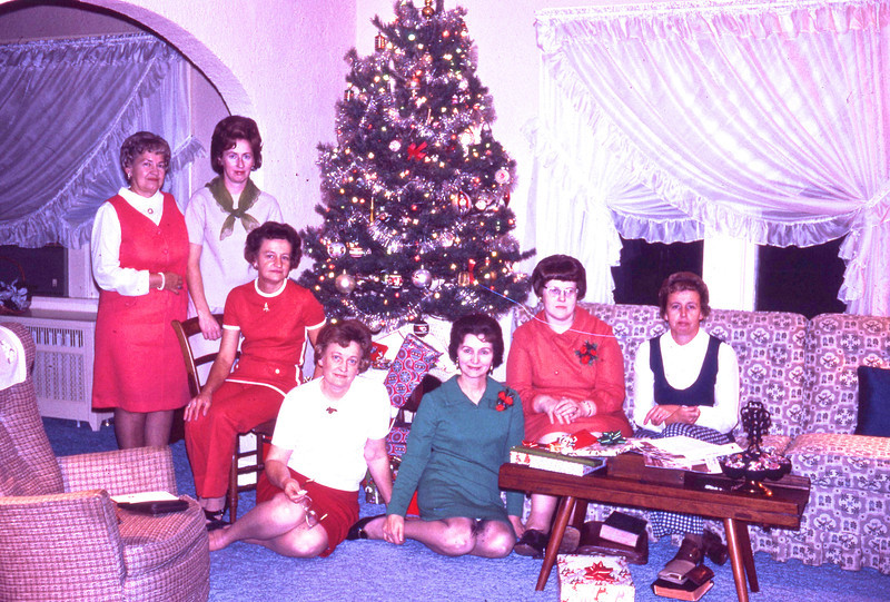 1971:  Volunteers Christmas Party:  (L to R):  Wilma Cline, Jane Converse, Marge Porter, Millie C. Shaffer, Lillian Howe, Grace Gerstenecker, Joan Fox.<br /> (Photo by G. A. Shaffer)