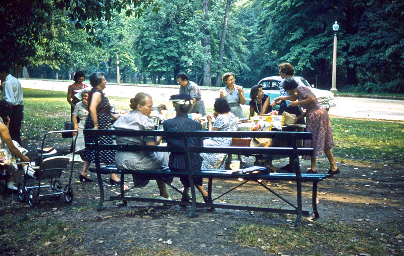 1955:  Sunday School Picnic at Granite City Park:  (L to R):  Fern Mateer, Lucille Auwarter, ______, Opal Gerstenecker, Cora Edwards, Alvena Isenberg, Margaurite Martin, Wilma Cline, Delores Chumchal, , Lillian Howe, Bernice Gard.