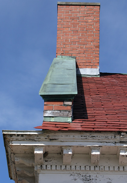 Roof work and repainting needed at the former Littlefield Library, one of the areas of pending improvements in Tyngsboro town center.  JULIA MALAKIE/LOWELLSUN