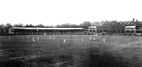 Merion Cricket Club. Photo shows stands that burned down in the early 1900s.
