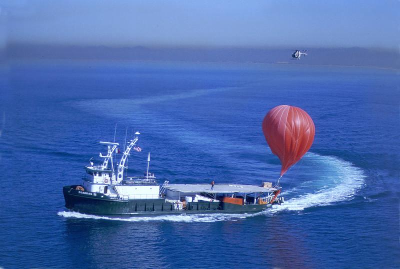 Egabrag III . Shipboard baloon launch testing, San Diego,  February 10, 1988