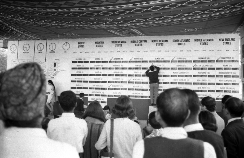 The big wall had little blackboards for the vote tallies for each of three main candidates for each state and the District of Columbia. That's a lot of little blackboards.