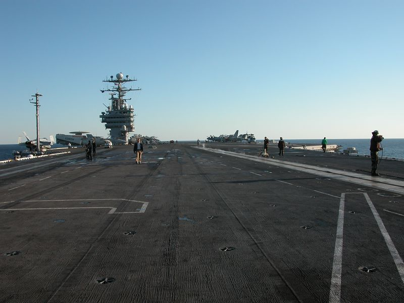 View of the entire flight deck looking from the front to the back.