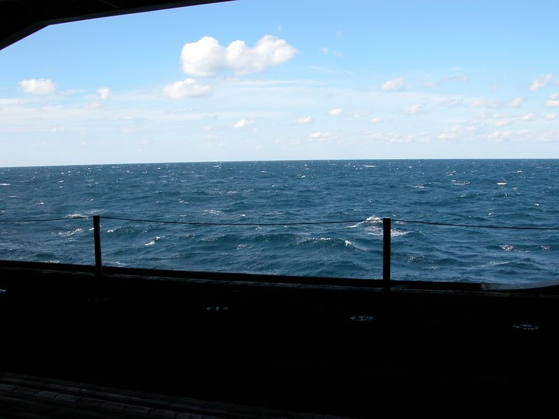 Looking out the bay doors.  The seas are 6-8' but we can hardly feel the 90,000 ton ship move.