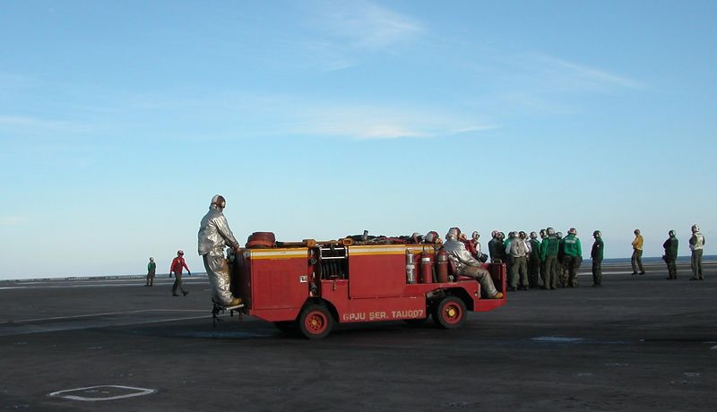 Fire truck used for emergencies during flight operations.
