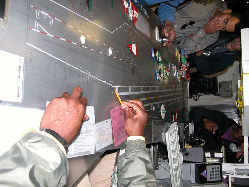 Flight deck Control.  Each item shows a plane on the flight deck and the status of that plane.  ie: PURPLE  nut means needing fuel.  Placed upright this means the plane is getting fuled.