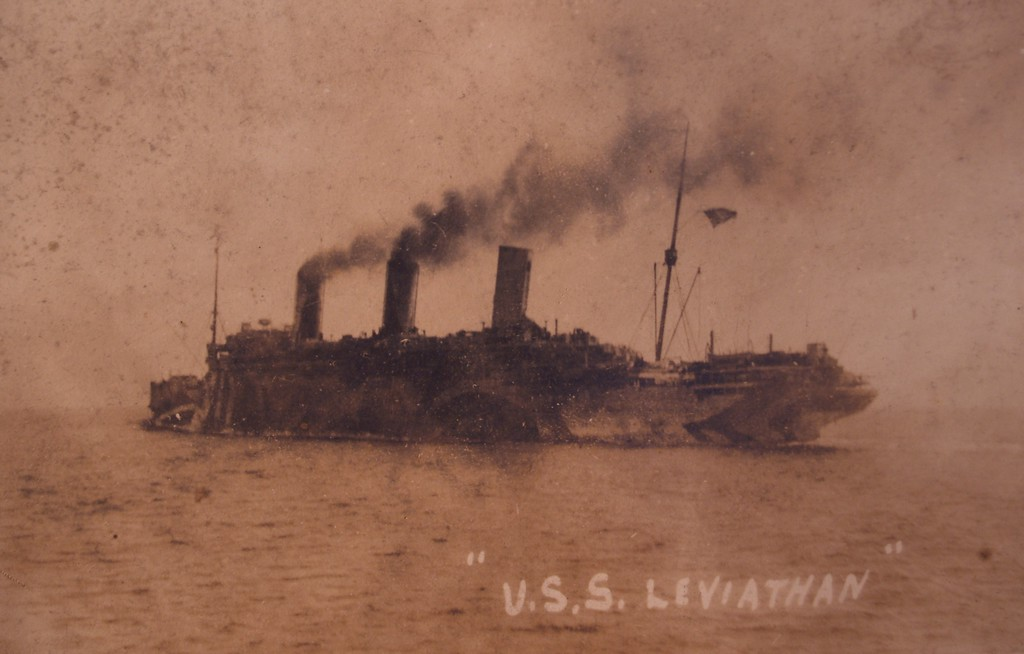 "The USS Leviathan<br /> One of the German ships seized by the 22nd Infantry at Hoboken on April 6, 1917 was the Vaterland (Fatherland). It was later renamed the USS Leviathan.<br />  <a href=""http://www.history.navy.mil/photos/sh-usn/usnsh-l/id1326.htm"">http://www.history.navy.mil/photos/sh-usn/usnsh-l/id1326.htm</a>"