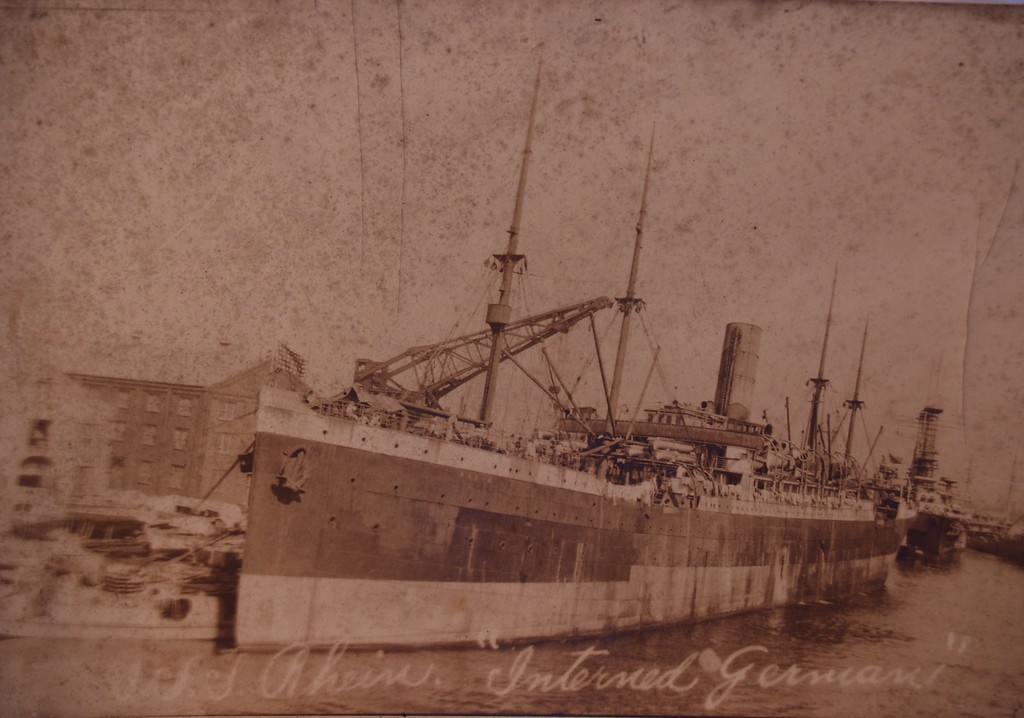 "USS Susquehanna, a 10,058 gross ton transport, was built at Hamburg, Germany, in 1899 as the North German Lloyd passenger liner Rhein. She operated commercially for the next fifteen years, but was interned at Baltimore, Maryland, after World War I began in August 1914. <br />  <a href=""http://www.history.navy.mil/photos/sh-usn/usnsh-s/id3016.htm"">http://www.history.navy.mil/photos/sh-usn/usnsh-s/id3016.htm</a>"