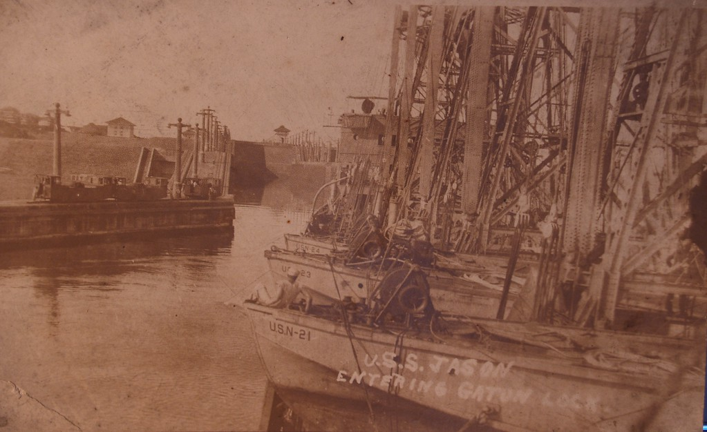 "Jason (AC-12) entering Gatun Lock, Panama Canal, with a deck load of seaplane barges, during the early 1920s. The barges are (from the front) YV-21, YV-23 and YV-24.<br /> Same picture in the Navy archives below:<br />  <a href=""http://www.navsource.org/archives/09/09021212.jpg"">http://www.navsource.org/archives/09/09021212.jpg</a><br />  <a href=""http://www.navsource.org/archives/09/0212.htm"">http://www.navsource.org/archives/09/0212.htm</a>"