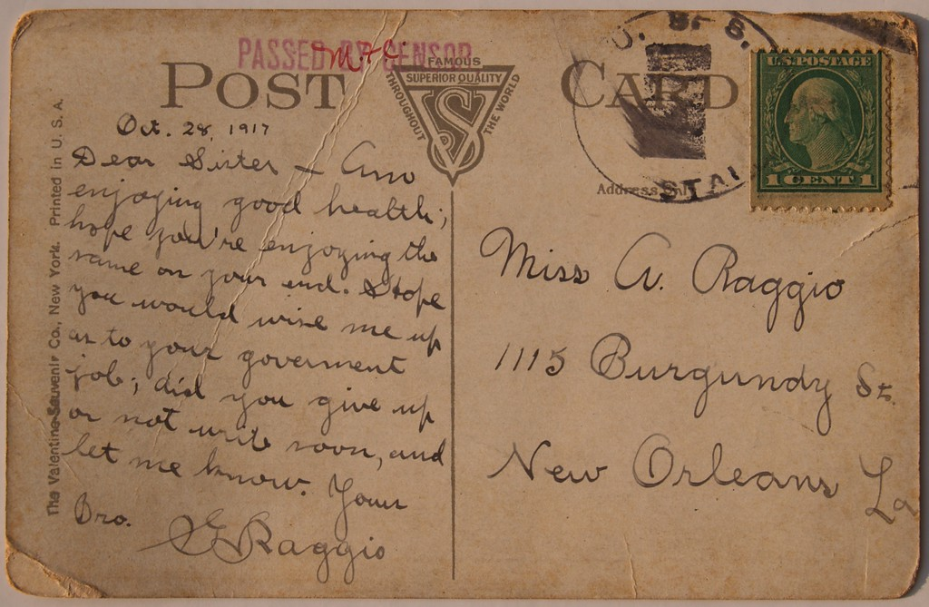 Post card sent from Gabriel Raggio on the USS Jason to his sister Adel Raggio living in New Orleans, La.  <br /> <br /> Notice the CENSOR stamp and initials from the censorship of the Navy
