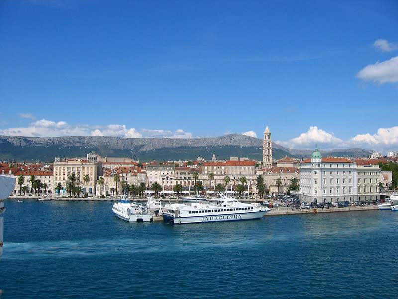 Croatia from Ferry - Spalato is the largest and most important city in Dalmatia, the administrative center of Croatia's Split-Dalmatia County, and the country's second-largest city. It is a Mediterranean city, situated on a small peninsula on the eastern shores of the Adriatic Sea