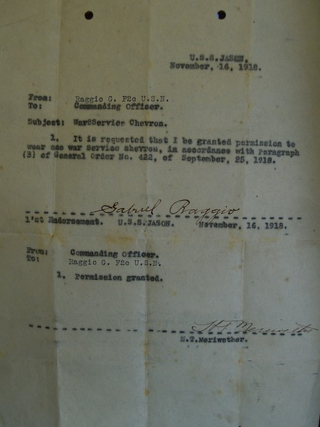 A picture of an original letter from Gabriel Raggio to the commanding officer while serving on the U.S.S. Jason. The commanding officer, ?. T. Meriwether, relies: Permission Granted.
