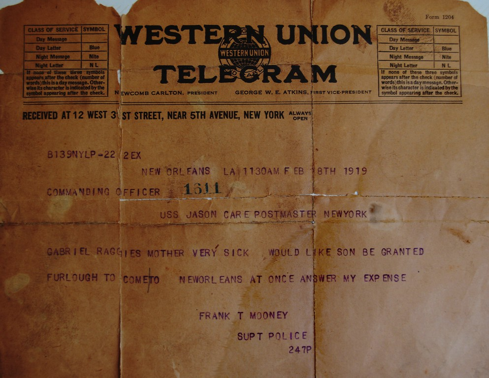 A picture of an orginal telegram to the U.S.S. Jason - It references Gabriel Raggio
