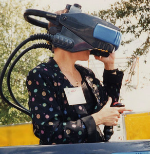 Jacki Morie in VR headset c. 1992 at an IAPPA Conference