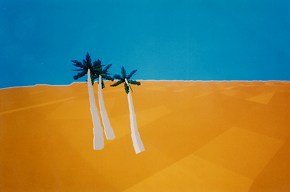Virtopia - the vast an empty desert interface. Find the oasis and jump into a pool. This was an early VR artwork by Mike Goslin and Jacki Morie. early 1990s. It was designed to present emotional experiences to the VR participants.