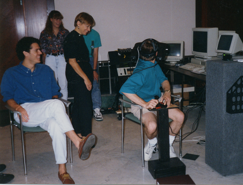 Mike Goslin and visitor to VIRTOPIA - the second year our VR work was presented at a film festival - The Florida Film Festival 1993.