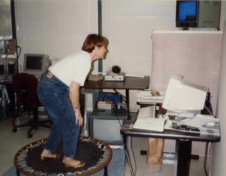 Jacki Morie tries out the Cybersurf system created by The Toy Scouts, 1992.
